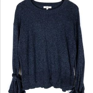 Navy blue Madewell sweater with tie sleeves